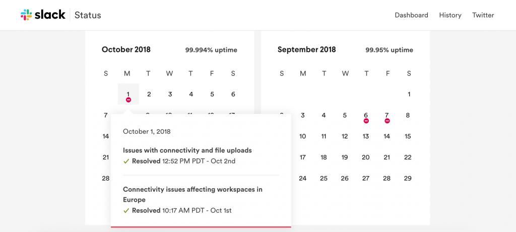 Slack uptime calendar